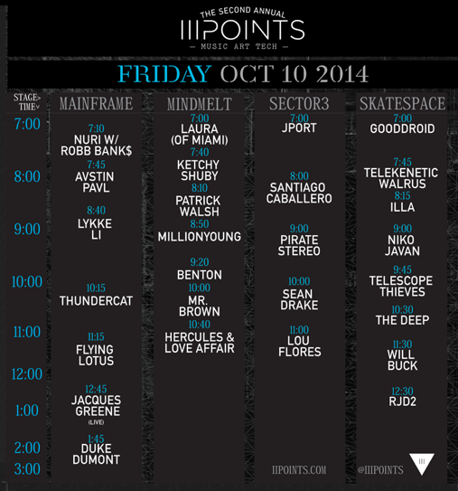 III Points 2014 Friday set times